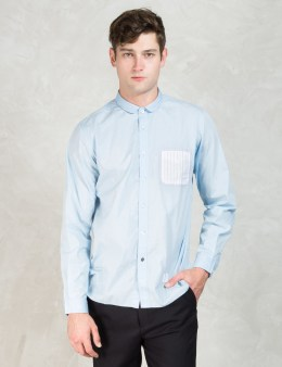 "BEDWIN & THE HEARTBREAKERS Blue ""Pucci"" Short Round Collar Shirt Picture"