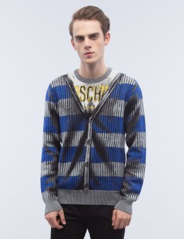MOSCHINO Crewneck Fake Caridgan Print Sweater Picture