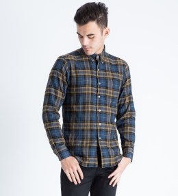 Naked & Famous Blue/Yellow Herringbone Shadow Twill Regular Shirt Picture
