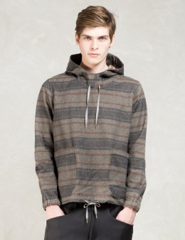 Paul Smith Red Ear Multicolor Red Ear Wool-blend Striped Blanket Pullover Hooded Jacket Picture