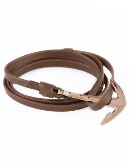 Miansai Brown Rose Plated Anchor On Leather Bracelet Picture