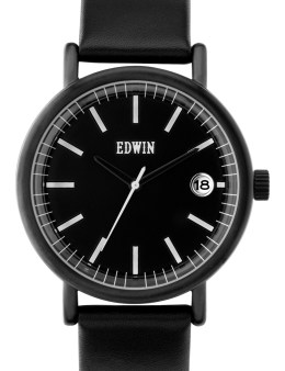 EDWIN Watch Black With Black Leather Band Epic Picture