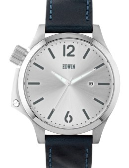 EDWIN Watch Silver With Blue Leather Band Brook Picture
