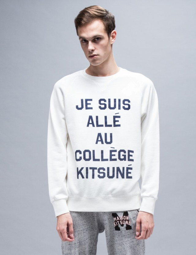 maison kitsune je suis alle sweatshirt hbx. Black Bedroom Furniture Sets. Home Design Ideas