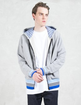 MSGM Contrast Rib Zip Front Hoodie Picture