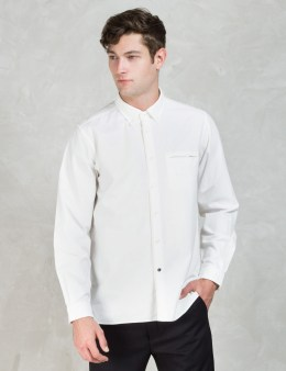 """BEDWIN & THE HEARTBREAKERS Ivory """"Brian"""" Front Tape Button Down Oxford Shirt Picture"""