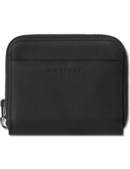 HAERFEST Black Rubber Coated Leather Zip Wallet Picture