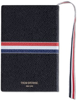 THOM BROWNE Pebble Grain Leather Cover Small Notebook with RWB Grosgrain Picutre