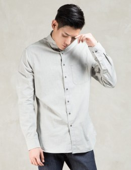 wings + horns Grey Ripstop Melange Ls Woven Shirt Picture