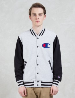 Champion Reverse Weave Contrast Arm Sweat Varsity Jackets Picture