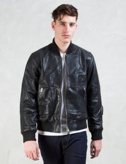 MKI Black Black Chrome Nappa Bomber Jacket Picture