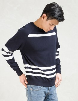 Still Good Navy/white Stripes Crewneck Pullover Sweater Picture