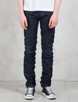 DIESEL BLACK GOLD Type-267 Rigid Infigo Denim 5 Pockets Denim Jeans Picture