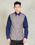 N.Hoolywood Brown L/s Solid Sleeve Check Body Shirt Picture