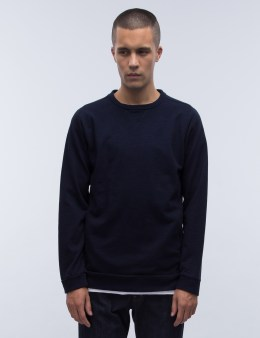 BLUE BLUE JAPAN Mod Indigo Yarn Dyed Crewneck Sweatshirt Picture