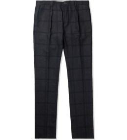 Paul Smith Navy Silk-Blend Slub Trousers Picture