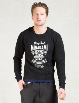 Man of Moods Black Merino Wool Crewneck Sweater Picture