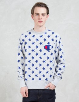 Champion Reverse Weave Overall Stars Sweatshirt with Applique Logo Picture