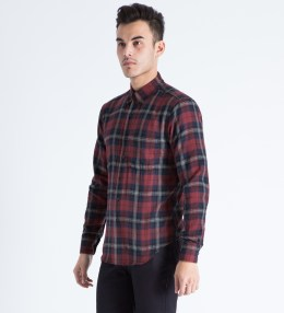 Naked & Famous Red Herringbone Shadow Twill Regular Shirt Picture