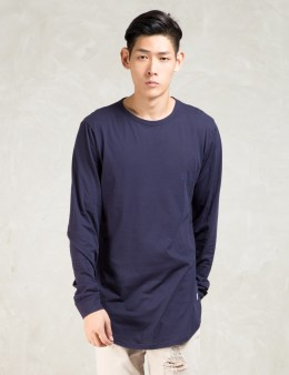 STAMPD Navy L/S Dawn Scallop T-Shirt Picture
