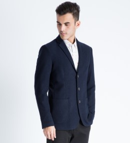 Shades of Grey by Micah Cohen Navy Knit Blazer Picture