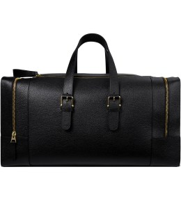 THOM BROWNE Black Grained Leather Duffle Bag Picutre