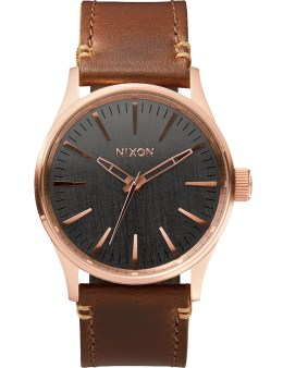 Nixon Rose Gold/Gunmetal Sentry 38 Leather Watch Picture