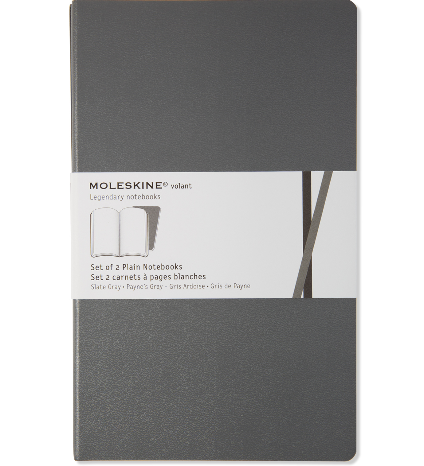Moleskine Volant Notebook (Set of 2 ), Extra Small, Ruled, Black, Soft Cover (2.