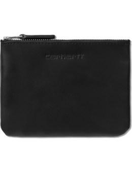 Carhartt WORK IN PROGRESS Black Leather Simple Zip Wallet Picture