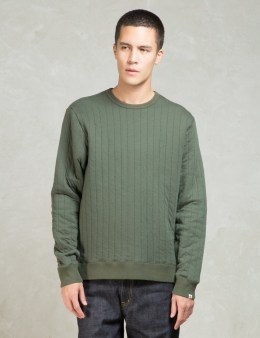Head Porter Plus Olive Stripe Quilt Sweatshirt Picture