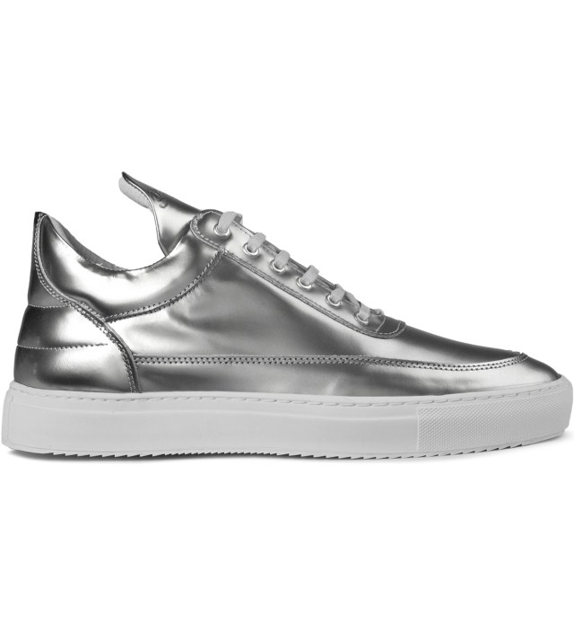 filling pieces silver metallic patent leather low top