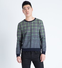 Band of Outsiders Multicolor Melting Plaid Crewneck Sweater Picture