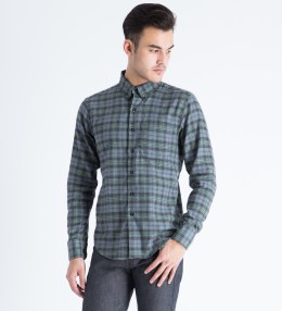 Naked & Famous Blue/Green Check Twill Regular Shirt Picture