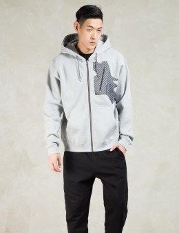 Uppercut Grey Printed Coated Pocket Zip Hood Sweatshirt Picture