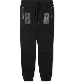 AURA GOLD Black Nylon Pieced 3M Drop Crotch Sweatpants Picture