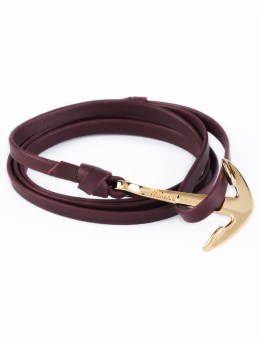 Miansai Burgundy Gold Anchor On Leather Bracelet Picture