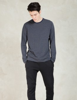 SUNSPEL Charcoal/navy Strips Long Sleeve Crewneck T-shirt Picture
