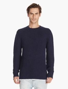 ZANEROBE Navy Exo Rib Crewneck Sweatshirt Picture