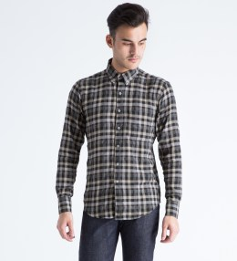Naked & Famous Cream/Brown Herringbone Shadow Twill Regular Shirt Picture