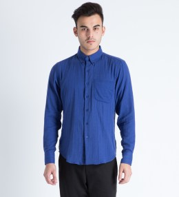 Naked & Famous Royal Blue Slub Double Gauze Regular Shirt Picture