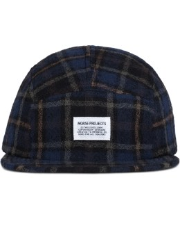 Norse Projects 5 Panel Loose Weave Gauze Tartan Check Cap Picture