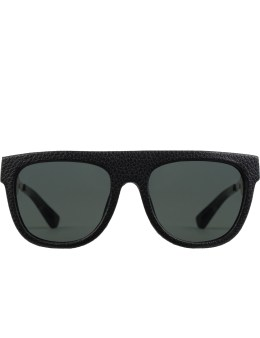 Stussy Black Leather Wrap with Dark Grey Lens Gil Sunglasses Picture
