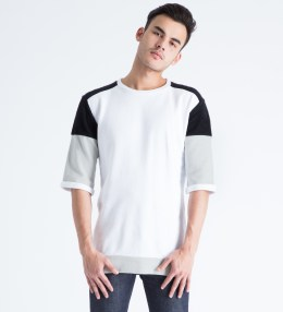 Tourne de Transmission White/Black/Stone Core Baseball Sweater Picture
