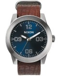 Nixon Rugged Horween Leather Corporal with Blue Sunray Dial Picutre