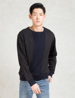 Still Good Black/navy Knit Patchwork Crewneck Sweatshirt Picture