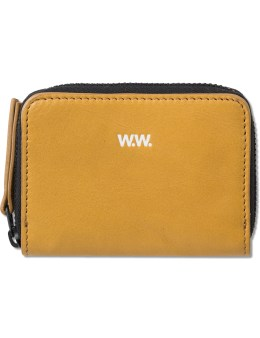 Wood Wood Tan Leather Card Zip Wallet Picture