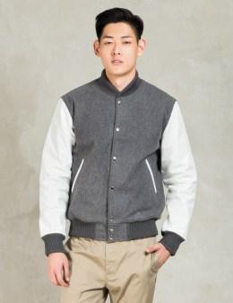 MKI Black Grey/White Classic Varsity Jacket Picture
