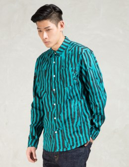 Stussy Turquoise Off Stripe Shirt Picture