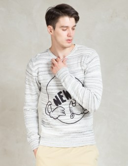 Soulland White Squire Knit Sweater W. Needle Punch Picture