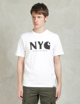 Carhartt WORK IN PROGRESS White/Black S/S New York City T-Shirt Picture
